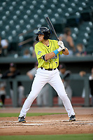 Right fielder Brian Sharp (7) of the Columbia Fireflies bats in a game against the Hickory Crawdads on Wednesday, August 28, 2019, at Segra Park in Columbia, South Carolina. Hickory won, 7-0. (Tom Priddy/Four Seam Images)