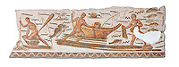 Roman mosaic depicting fishermen. The fisherman on the left is about to spear an octopus with a trident. The fisherman in the middle is pushing his boat which had a rod and line on the front of it. From the reign of Emperor Gallienus 260-280 AD. Excavated from The House of Dionysus and Ulysses, Dougga. Roman mosaics from the north African Roman province of Africanus .  Inv 2384, Bardo Museum, Tunis, Tunisia.