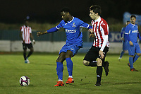 Joshua Hutchinson of Redbridge and Andy Greenslade of Clapton during Redbridge vs Clapton, Essex Senior League Football at Oakside Stadium on 14th November 2017