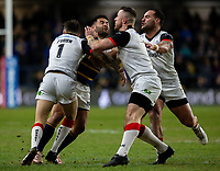 eeds Rhinos' Rhyse Martin is tackled by Toronto Wolfpack's Gareth O'Brien, Adam Sidlow and Bodene Thompson<br /> <br /> Photographer Alex Dodd/CameraSport<br /> <br /> Betfred Super League Round 6 - Leeds Rhinos v Toronto Wolfpack - Thursday 5th March 2020 - Headingley - Leeds<br /> <br /> World Copyright © 2020 CameraSport. All rights reserved. 43 Linden Ave. Countesthorpe. Leicester. England. LE8 5PG - Tel: +44 (0) 116 277 4147 - admin@camerasport.com - www.camerasport.com