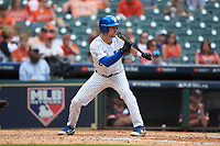 Trey Dawson (2) of the Kentucky Wildcats squares to bunt against the Sam Houston State Bearkats during game four of the 2018 Shriners Hospitals for Children College Classic at Minute Maid Park on March 3, 2018 in Houston, Texas. The Wildcats defeated the Bearkats 7-2.  (Brian Westerholt/Four Seam Images)