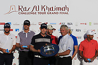 Alain de Soultrait, Managing Director European Challenge Tour presents the Order of Merit Trophy to Joachim B Hansen (DEN) during the final round of the Ras Al Khaimah Challenge Tour Grand Final played at Al Hamra Golf Club, Ras Al Khaimah, UAE. 03/11/2018<br /> Picture: Golffile | Phil Inglis<br /> <br /> All photo usage must carry mandatory copyright credit (&copy; Golffile | Phil Inglis)