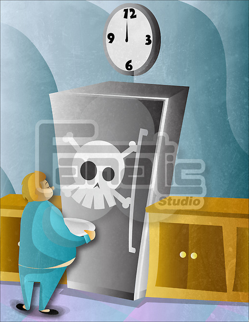 Obese man standing in front of refrigerator with a human skull on it