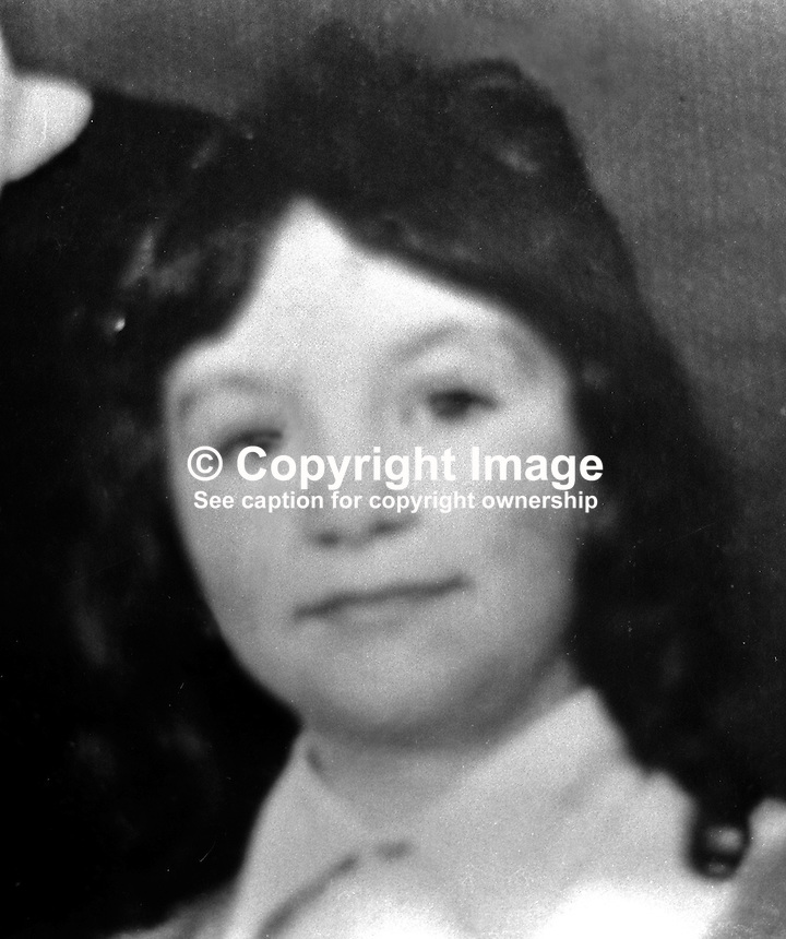 Rosaleen Gavin, 8 years, schoolgirl, Roman Catholic, Ardilea Street, Belfast, who was shot dead on the Oldpark Road by a Provisional IRA sniper aiming at British soldiers. 197204290592..Copyright Image from Victor Patterson, 54 Dorchester Park, Belfast, United Kingdom, UK...For my Terms and Conditions of Use go to http://www.victorpatterson.com/Victor_Patterson/Terms_%26_Conditions.html