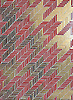 Houndstooth, a handmade mosaic shown in Ruby and 24K Gold glass.