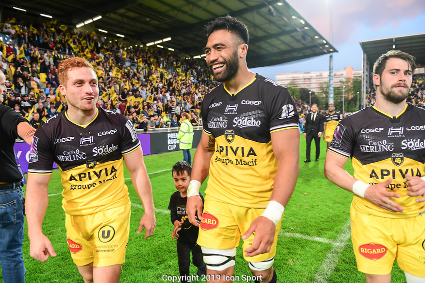 Ihaia West and Victor Vito of La Rochelle celebrate the victory during the Challenge Cup semi final match between Stade Rochelais and Sale Sharks on April 20, 2019 in La Rochelle, France. (Photo by Anthony Dibon/Icon Sport)
