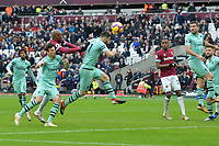 Lucas Torreira of Arsenal heads clear during West Ham United vs Arsenal, Premier League Football at The London Stadium on 12th January 2019