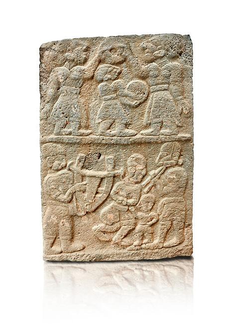 Pictures & images of the North Gate Hittite sculpture stele depicting musicians playing instruments. 8the century BC.  Karatepe Aslantas Open-Air Museum (Karatepe-Aslantaş Açık Hava Müzesi), Osmaniye Province, Turkey. Against white background
