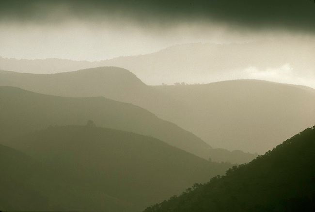 The hills of eastern Napa Valley with morning clouds and fog