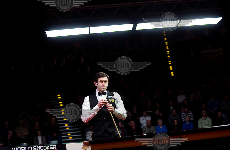 Ronnie O'Sullivan at the table during the German Snooker Masters event at the Tempodrom in Berlin. The first ranking event, one that includes the top 16 snooker players in the world, to take place in Germany for 14 years, it attracted an audience of 2,500 fans every evening.