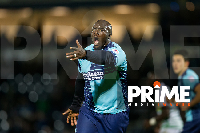 Adebayo Akinfenwa of Wycombe Wanderers during the Sky Bet League 2 match between Wycombe Wanderers and Yeovil Town at Adams Park, High Wycombe, England on 25 November 2017. Photo by Andy Rowland.