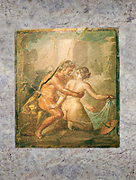A Roman erotic fresco painting from Pompeii,  Naples National Archaeological, 1st cent AD ,  Secret Museum or Secret Cabinet,
