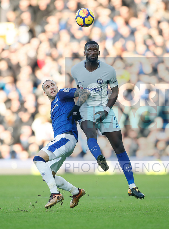 Everton's Sandro Ramirez tussles with Chelsea's Antonio Rudiger during the premier league match at Goodison Park Stadium, Liverpool. Picture date 23nd December 2017. Picture credit should read: David Klein/Sportimage