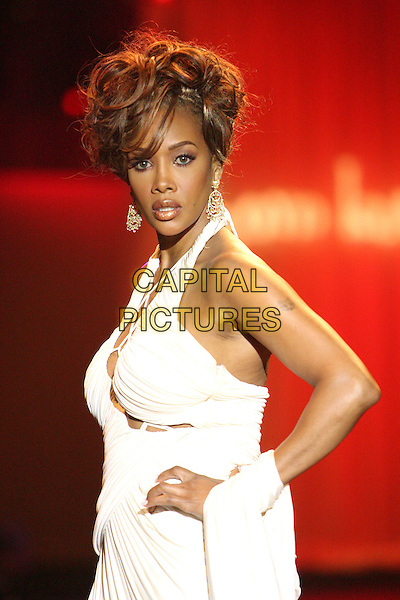 "VIVICA A. FOX.""Circle of Passion"" Fashion Show hosted by the Elevate Hope Foundation held at the Pacific Design Center, Los Angeles, California, USA, 26 February 2006..Half length white halterneck dress catwalk runway modelling.Ref: ADM/ZL.www.capitalpictures.com.sales@capitalpictures.com.©Zach Lipp/AdMedia/Capital Pictures."