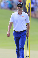 Adam Scott (AUS) on the 18th green during Friday's Round 2 of the 2017 PGA Championship held at Quail Hollow Golf Club, Charlotte, North Carolina, USA. 11th August 2017.<br /> Picture: Eoin Clarke | Golffile<br /> <br /> <br /> All photos usage must carry mandatory copyright credit (&copy; Golffile | Eoin Clarke)