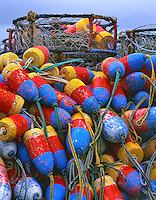 Crab rings and floats on dock in Newport, Oregon
