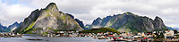 Norway, Lofoten. Reine in Lofoten is a commercial and rourism center, and has been selected as one of the most beautiful villages in Norway. Panorama.