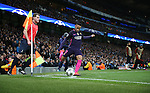 Neymar of Barcelona takes a corner kick during the Champions League Group C match at the Etihad Stadium, Manchester. Picture date: November 1st, 2016. Pic Simon Bellis/Sportimage
