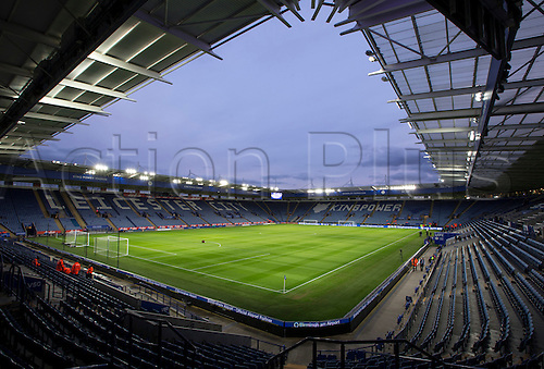 01.03.2016. King Power Stadium, Leicester, England. Barclays Premier League. Leicester versus West Bromwich Albion. A pitch view from the corner of the stands at night with floodlights on.