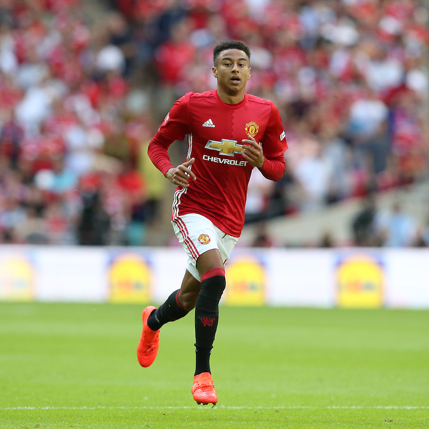 Manchester United's Jesse Lingard<br /> <br /> Photographer Stephen White/CameraSport<br /> <br /> Football - The FA Community Shield - Leicester City v Manchester United - Sunday 7 August 2016 - Wembley Stadium - London<br /> <br /> World Copyright &copy; 2016 CameraSport. All rights reserved. 43 Linden Ave. Countesthorpe. Leicester. England. LE8 5PG - Tel: +44 (0) 116 277 4147 - admin@camerasport.com - www.camerasport.com