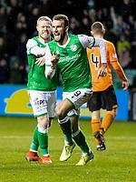 28th January 2020; Easter Road, Edinburgh, Scotland; Scottish Cup replay, Football, Hibernian versus Dundee United; Christian Doidge of Hibernian celebrates after scoring to make it 2-1 to Hibernian