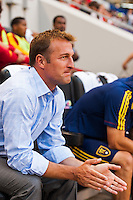 Real Salt Lake head coach Jason Kreis. The New York Red Bulls defeated Real Salt Lake 4-3 during a Major League Soccer (MLS) match at Red Bull Arena in Harrison, NJ, on July 27, 2013.