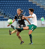 Red Stars midfielder Megan Rapinoe (15) plays the ball while being pressured by FC Gold Pride forward Tiffeny Milbrett (15).  The FC Gold Pride defeated the Chicago Red Stars 3-2 at Toyota Park in Bridgeview, IL on August 22, 2010