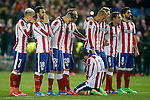 Atletico de Madrid's Antoine Griezmann, Jesus Gamez, Jose Maria Gimenez, Juanfran Torres, Arda Turan, Joao Miranda, Fernando Torres, Koke Resurrecccion and Raul Garcia during Champions League 2014/2015 match.March 16,2015. (ALTERPHOTOS/Acero)