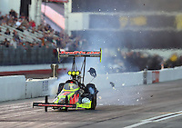Feb 11, 2017; Pomona, CA, USA; NHRA top fuel driver Troy Coughlin Jr during qualifying for the Winternationals at Auto Club Raceway at Pomona. Mandatory Credit: Mark J. Rebilas-USA TODAY Sports
