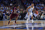 GREENVILLE, SC - MARCH 17: Nate Britt (0) of the University of North Carolina moves the ball down the court under coverage from Demontrae Jefferson (3) of Texas Southern University during the 2017 NCAA Men's Basketball Tournament held at Bon Secours Wellness Arena on March 17, 2017 in Greenville, South Carolina. (Photo by Grant Halverson/NCAA Photos via Getty Images)