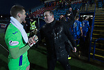 City manager Gary Jardine congratulates goalkeeper Andrew Stobie on a second successive clean sheet and victory over Montrose. It was Edinburgh City's first Scottish League visit to Montrose since the club were promoted from the Lowland League the previous season. City won the match 1-0 to record their first league win of the season, captain Dougie Gair scoring the winner from the penalty spot in the 68th minute in a match watched by 388 spectators.