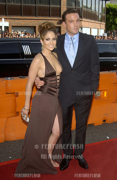 BEN AFFLECK & fiancée JENNIFER LOPEZ at the Los Angeles premiere of their new movie Gigli..July 27, 2003