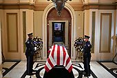 The casket bearing the remains of United States Representative Elijah Cummings (Democrat of Maryland) is seen at the US Capitol in Washington, DC on October 24, 2019. - Cummings died on October 17, 2019. <br /> Credit: Mandel Ngan / Pool via CNP