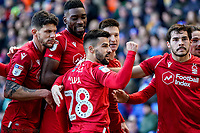 1st February 2020; St Andrews, Birmingham, Midlands, England; English Championship Football, Birmingham City versus Nottingham Forest; Tiago Silva of Nottingham Forest celebrates the opening goal with his teammates in the 19th minute