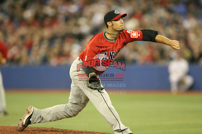 March 7, 2009:  Pitcher David Davidson (23) of Canada during the first round of the World Baseball Classic at the Rogers Centre in Toronto, Ontario, Canada.  Team USA defeated Canada 6-5 in both teams opening game of the tournament.  Photo by:  Mike Janes/Four Seam Images