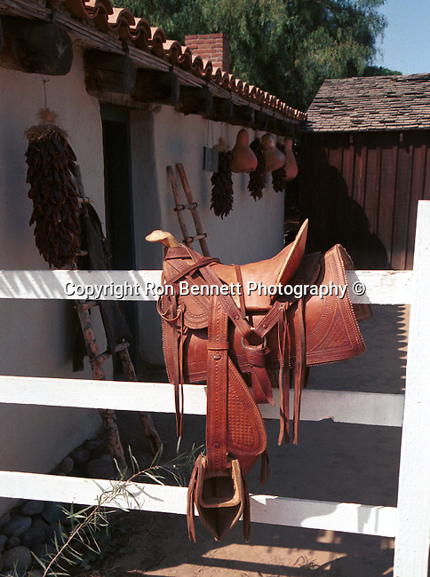 Mexican saddle on fence at adobe home San Diego California, Fine Art Photography by Ron Bennett, Fine Art, Fine Art photography, Art Photography, Copyright RonBennettPhotography.com ©