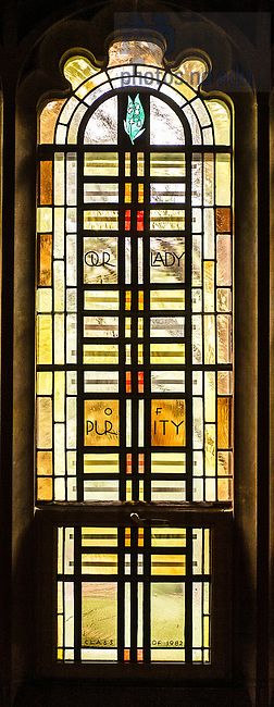 Aug. 23, 2014; Alumni Hall Chapel stained glass window<br /> <br /> Photo by Matt Cashore/University of Notre Dame
