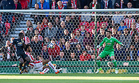 Eric Maxim Choupo-Moting of Stoke City scores his goal past Goalkeeper David De Gea of Man Utd during the Premier League match between Stoke City and Manchester United at the Britannia Stadium, Stoke-on-Trent, England on 9 September 2017. Photo by Andy Rowland.