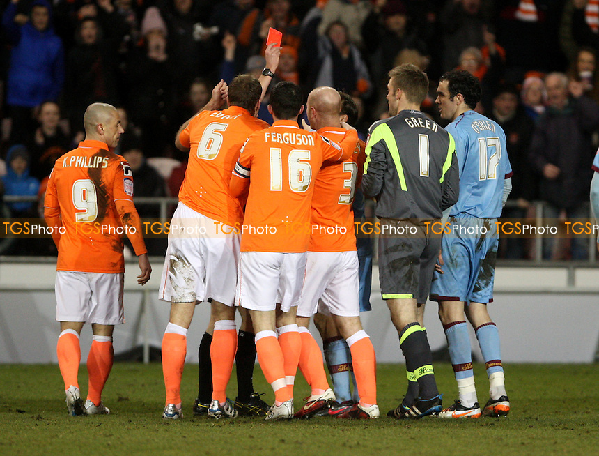 Robert Green of West Ham gets a red card - Blackpool vs West Ham United, npower Championship at Bloomfield Road, Blackpool - 21/02/12 - MANDATORY CREDIT: Rob Newell/TGSPHOTO - Self billing applies where appropriate - 0845 094 6026 - contact@tgsphoto.co.uk - NO UNPAID USE..
