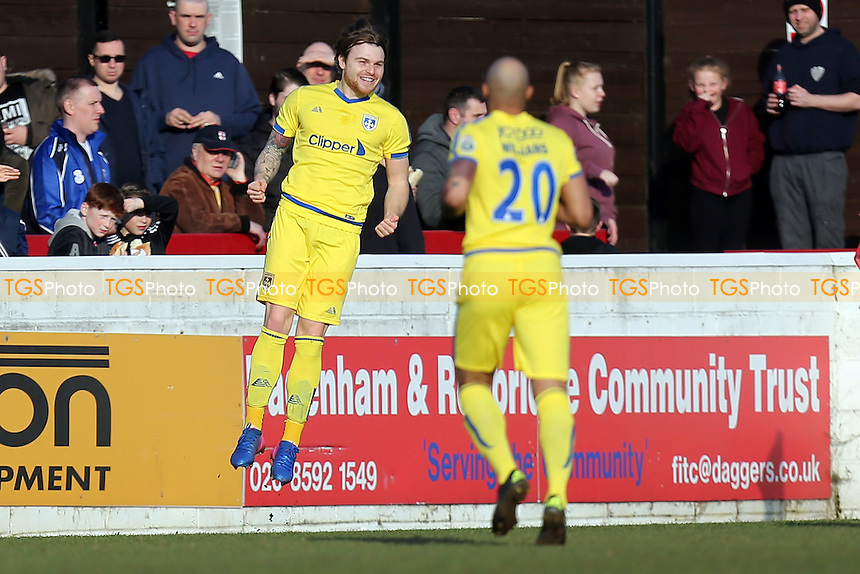 Jordan Preston of Guiseley AFC celebrates scoring the opening goal during Dagenham & Redbridge vs Guiseley, Vanarama National League Football at the Chigwell Construction Stadium on 18th February 2017