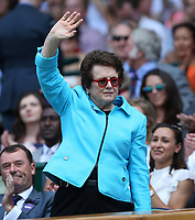 Former US tennis player Billie Jean King in the Royal box on Centre Court <br /> <br /> Photographer Rob Newell/CameraSport<br /> <br /> Wimbledon Lawn Tennis Championships - Day 6 - Saturday 7th July 2018 -  All England Lawn Tennis and Croquet Club - Wimbledon - London - England<br /> <br /> World Copyright &not;&copy; 2017 CameraSport. All rights reserved. 43 Linden Ave. Countesthorpe. Leicester. England. LE8 5PG - Tel: +44 (0) 116 277 4147 - admin@camerasport.com - www.camerasport.com