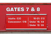 The North Terrace admission prices during Stevenage vs Reading, Emirates FA Cup Football at the Lamex Stadium on 6th January 2018