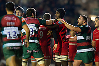 Tempers flare between Harry Wells of Leicester Tigers and Joel Kpoku of Saracens. Gallagher Premiership match, between Leicester Tigers and Saracens on November 25, 2018 at Welford Road in Leicester, England. Photo by: Patrick Khachfe / JMP