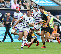 Leicester Tigers' George Ford is tackled by Wasps' Juan De Jongh <br /> <br /> Photographer Stephen White/CameraSport<br /> <br /> Gallagher Premiership - Wasps v Leicester Tigers - Sunday 16th September 2018 - Ricoh Arena - Coventry<br /> <br /> World Copyright &copy; 2018 CameraSport. All rights reserved. 43 Linden Ave. Countesthorpe. Leicester. England. LE8 5PG - Tel: +44 (0) 116 277 4147 - admin@camerasport.com - www.camerasport.com