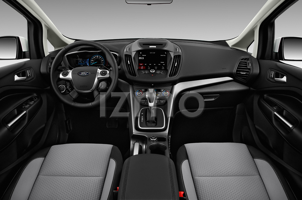 Stock photo of straight dashboard view of 2018 Ford C-Max SE-Hybrid 5 Door Mini MPV Dashboard