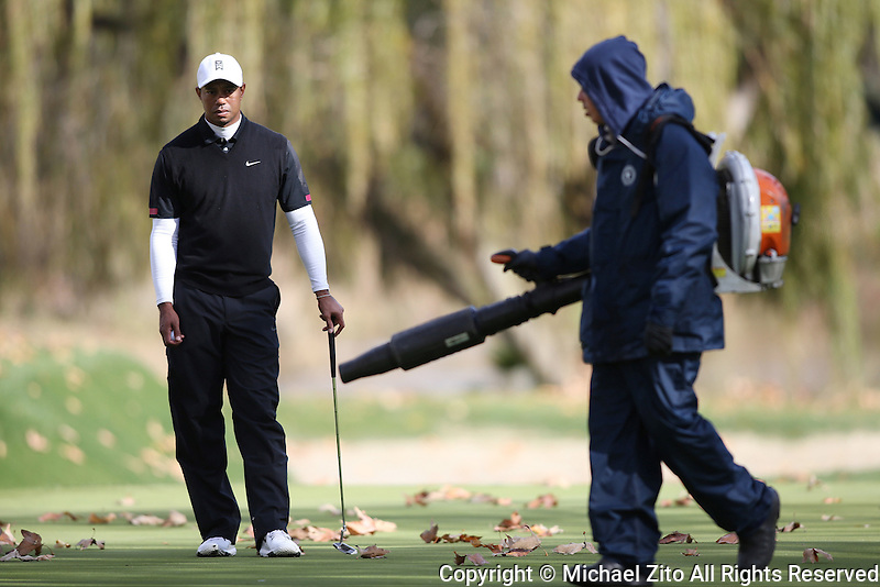 12/07/13 Thousand Oaks, CA: A Groundskeeper blows leaves off the 4th green as Tiger Woods looks on during the third round of the 2013 Northwestern Mutual World Challenge played at Sherwood Country Club. The yearly event benefits the Tiger Woods Foundation.