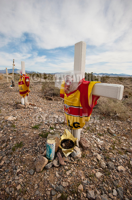 Road-side shrine (memorial) along US 95 as a tribute to Mexican soccer team who perished there in southern Nye Co., Nev.