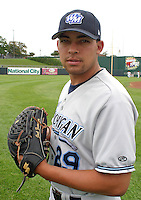 August 31, 2003:  Pitcher Joel Zumaya of the West Michigan White Caps, Class-A affiliate of the Detroit Tigers, during a Midwest League game at Oldsmobile Park in Lansing, MI.  Photo by:  Mike Janes/Four Seam Images