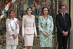 Queen Sofia of Spain (R) and Queen Letizia of Spain attend 'Reina Sofia Awards' for Integration and Rehabilitation for people with disabilities at El Pardo Palace in Madrid, Spain. April 29, 2015. (ALTERPHOTOS/Victor Blanco)