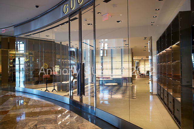 New York, New York<br /> March 20, 2020<br /> 3:16 PM<br /> <br /> Manhattan under the coronavirus pandemic. <br /> <br /> The closed and empty Gucci store in the Westfield World Trade Center, a shopping mall at the World Trade Center complex in Manhattan. The space is void of people at Friday rush-hour due to the coronavirus outbreak.<br /> <br /> Normally this space would be filled of people.